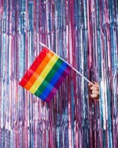 multi colored striped umbrella on wall